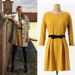 Antho Girls From Savoy Fluted Ponte Mustard Dress